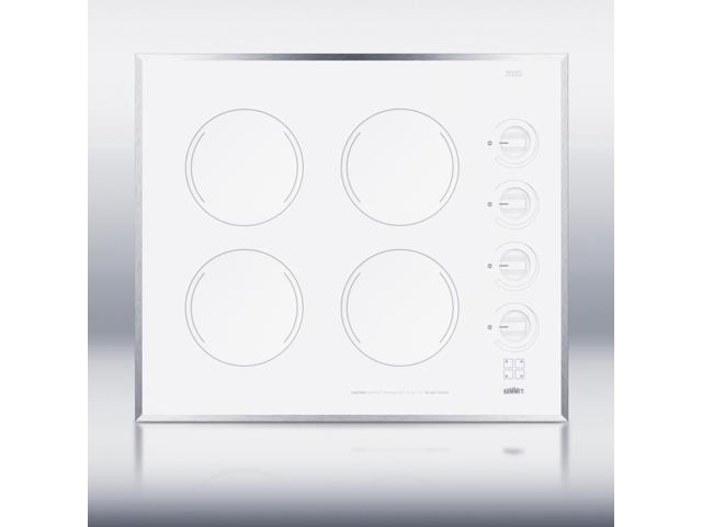 Summit CR424WH: 24' wide 4-burner electric cooktop in smooth white ceramic glass finish photo