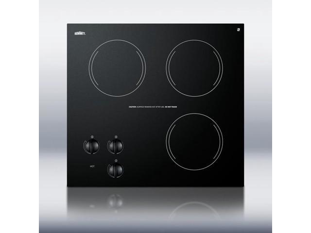 Summit CR3240: 230V three-burner cooktop in black ceramic glass, made in Europe photo