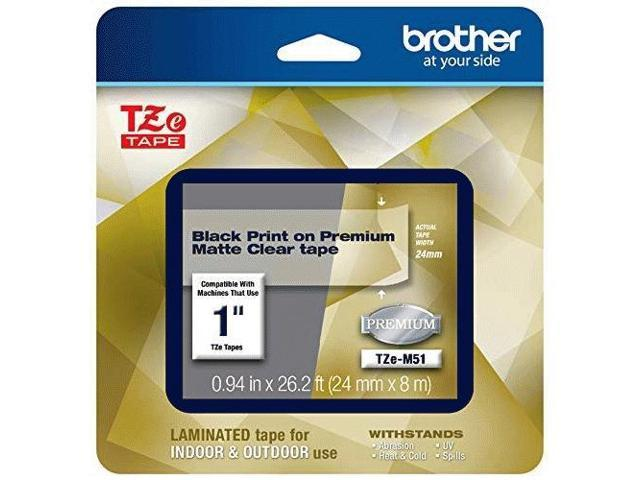 Brother TZeM51 Black Print on Premium Matte Clear Laminated Tape for P-touch Label Maker, 24.00 mm (0.94