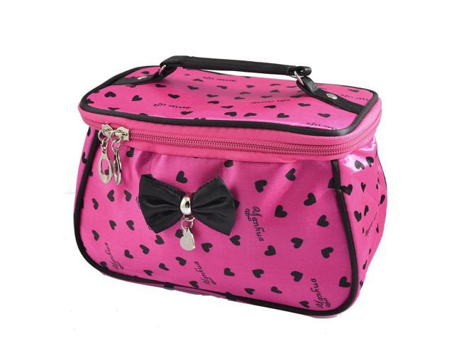 Unique Bargains Lady Heart Print Zipper Design Fuchsia Cosmetic Makeup Bag Purse w Mirror (608641759945 Luggage & Bags) photo