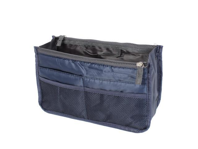 Navy Blue Cosmetic Makeup Storage Handbag Tote Insert Purse Organizer Pouch Bag (712206086947 Home & Garden Household Supplies) photo