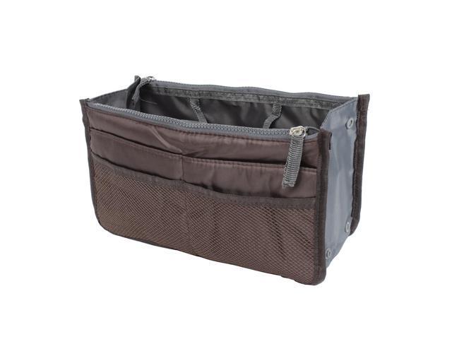Unique Bargains Zipper Women Cosmetic Bag Purse Portable Multi Pocket Organizer Storage Handbag Brown (601382754996 Home & Garden Household Supplies) photo