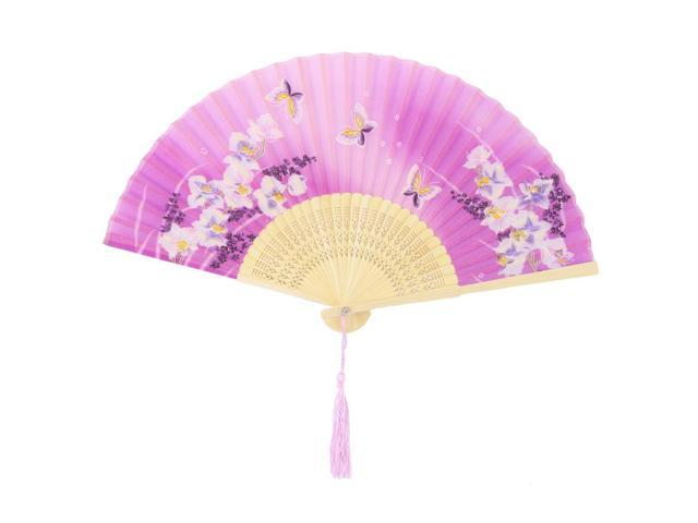 Party Dancing Bamboo Frame Butterfly Pattern Vintage Pocket Purse Folding Fan (709874615067 Vehicles & Parts Motor Vehicle Parts Steering Parts) photo