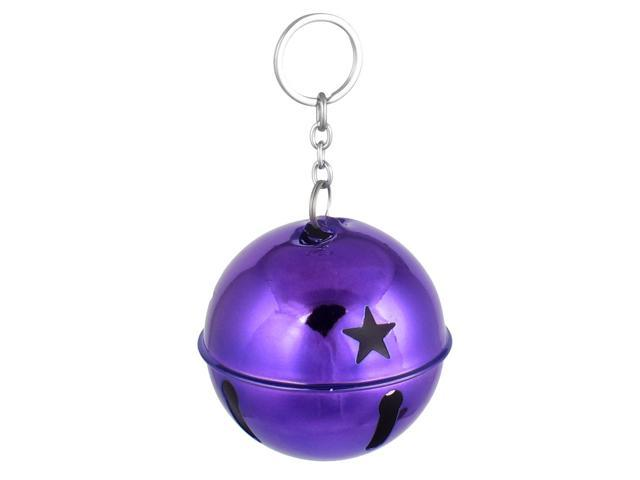 80mm Dia Purple Metal Keychain Hollow Design Ring Bell Decor for Christmas Purse (712457757047 Home & Garden) photo