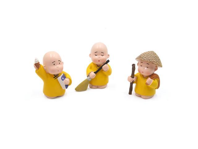 3Pcs Little Monk Figurines Doll Decoration Ornaments for Home Car Interior (609876524155 Hardware Tools) photo