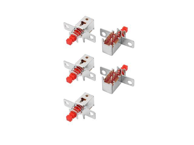 5 Pcs Red 6 Terminal Latching DPDT Mini Micro Push Button Switch for Housing Appliance photo