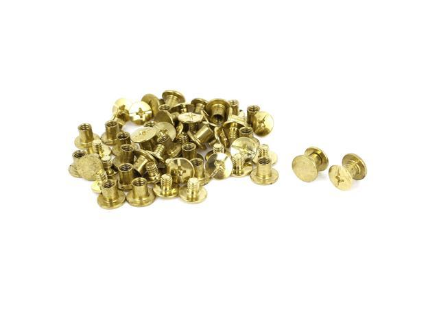 Unique Bargains Brass Plated 5x6mm Binding Chicago Screw Post 30pcs for Album Leather Purse (601382394949 Hardware Hardware Accessories) photo