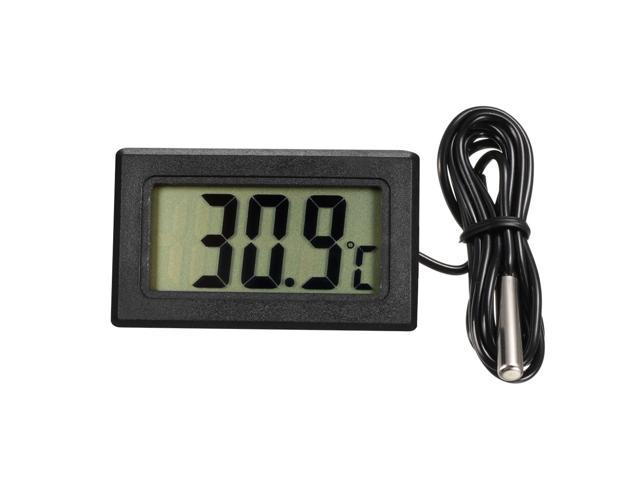Digital LCD Thermometer Temperature Gauge Aquarium Thermometer with Probe for Vehicle Reptile Terrarium Fish Tank Refrigerator(Celsius) photo