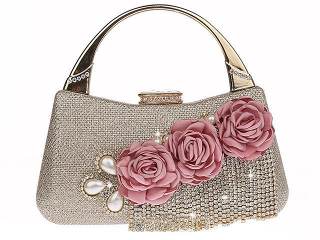 KAXIDY Wedding Handbag Flowers Evening Clutch Bags Wedding Purse Bridal Prom Party Clutch Bags (700465567079 Luggage & Bags) photo