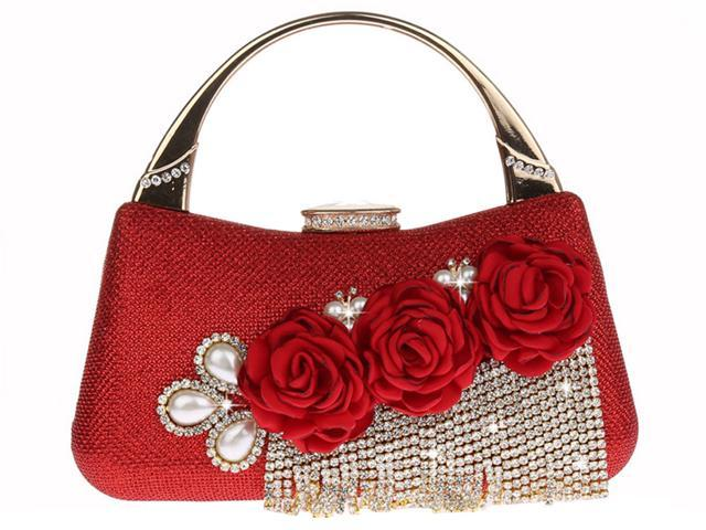 KAXIDY Wedding Handbag Flowers Evening Clutch Bags Wedding Purse Bridal Prom Party Clutch Bags (700465567109 Luggage & Bags) photo