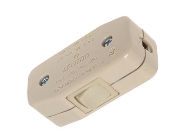 Leviton, 5410-I, 3 Amp 125 Volt AC, Ivory, Appliance Switch, Heavy Duty Feed Through Switch Rocker, Single Pole, Single Throw photo