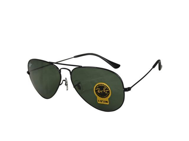 Ray Ban RB3025 Aviator Metal Classic Sunglasses - Black Frame Green Lenses  (58mm) c4064d0fe6
