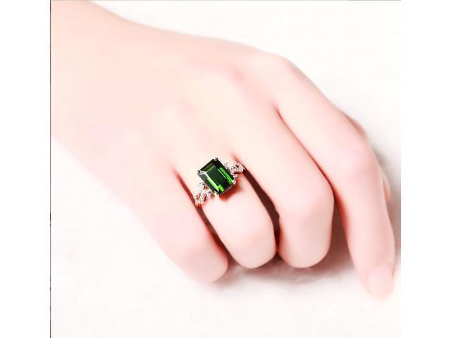 1.5ct Green Tourmaline ring & 0.13ct Diamonds 14K Rose Gold Engagement Wedding Ring - Gemstone Ring - Diamond Ring -Gold Ring - Wedding Band