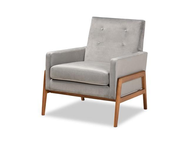 Baxton Studio Perris Mid-Century Modern Grey Velvet Fabric Upholstered and Walnut Brown Finished Wood Lounge Chair (193271128969 Furniture) photo
