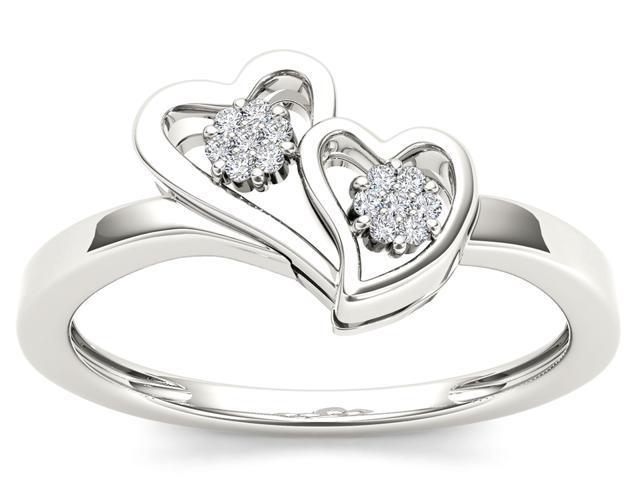 De Couer 10k White Gold 1/20ct TDW Diamond Two-Tone Double Heart Shape Ring (H-I, I2)