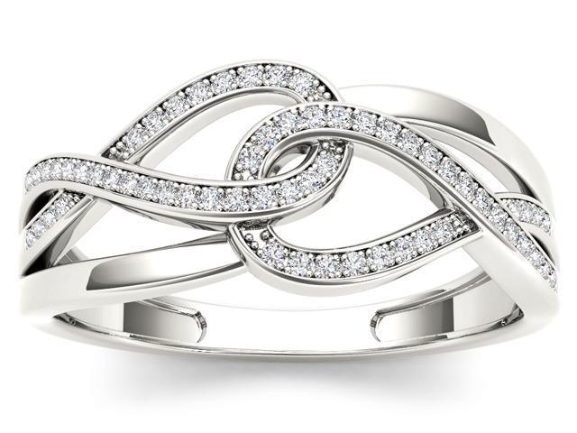 De Couer 10k White Gold 1/6ct TDW Diamond Two-Knot Promise Ring (H-I, I2)