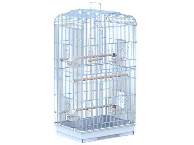 PawHut 36' Bird Cage Macaw Play House Cockatoo Parrot Finch Flight Cage 2 Doors Perch 4 Feeder Pet Supplies White (095509793225 Home & Garden Lawn & Garden Outdoor Living) photo