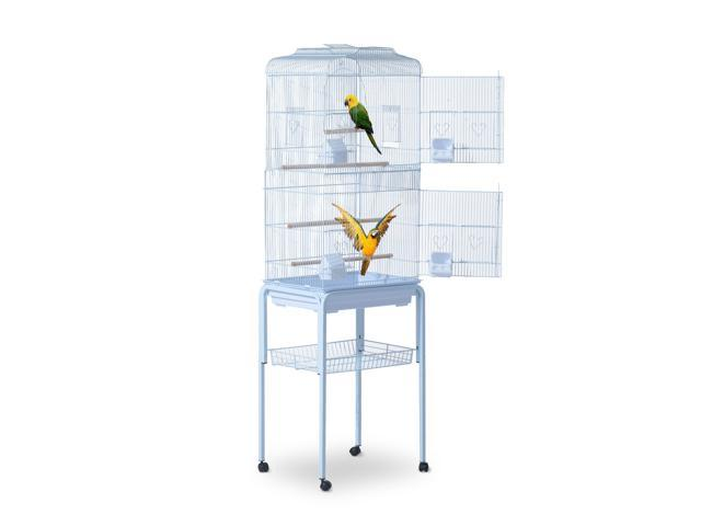 PawHut 63' Bird Cage Macaw Cockatoo House Parrot Play Top Finch Pet Supply with Wheels White (046655319999 Hardware Tools Saws Table Saws) photo