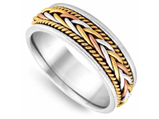 a73394dd36c18 18K Tri Color Solid Gold French Braid Comfort Fit Men's and Women's Wedding  Band Ring - 7mm - Newegg.com
