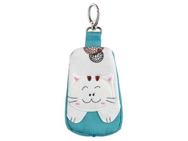 Lobster Clasp Zippered Cat Pattern Key Coin Card Holder Bag Purse Wallet Green (712457777625 Toys & Games) photo