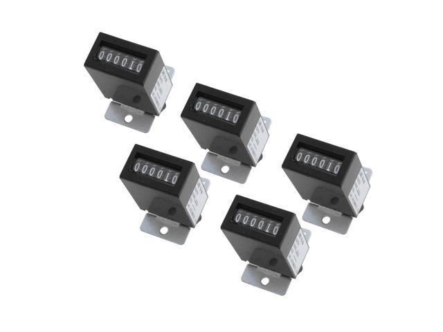 5Pcs Black Plastic Shell DC12V YB-06 6Digits Lockable Electromagnetic Counter photo