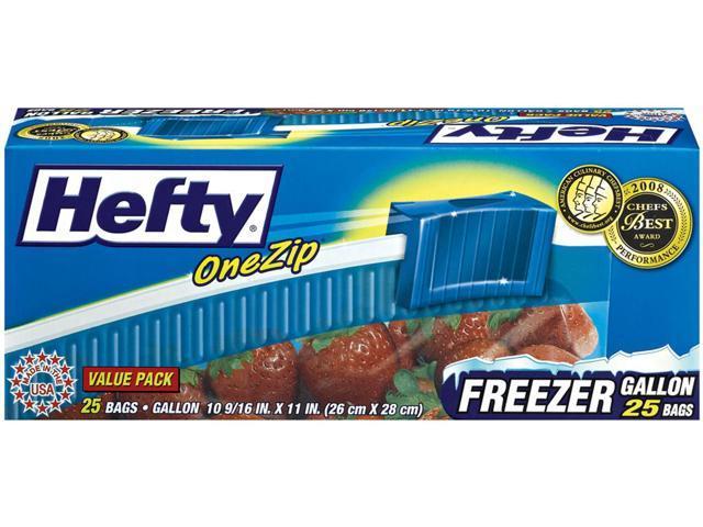 Hefty One Zip Slider Bags Freezer 1gal 2.5 mil Clear 25/Box R82425 photo