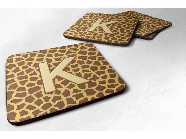 Set of 4 Monogram - Giraffe Foam Coasters Initial Letter K photo