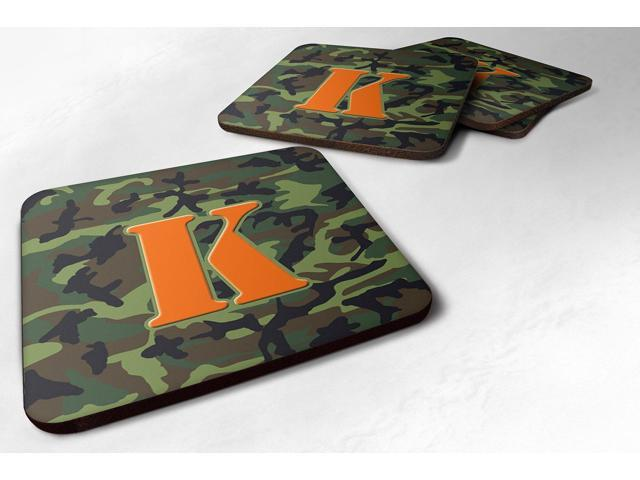 Set of 4 Monogram - Camo Green Foam Coasters Initial Letter K photo