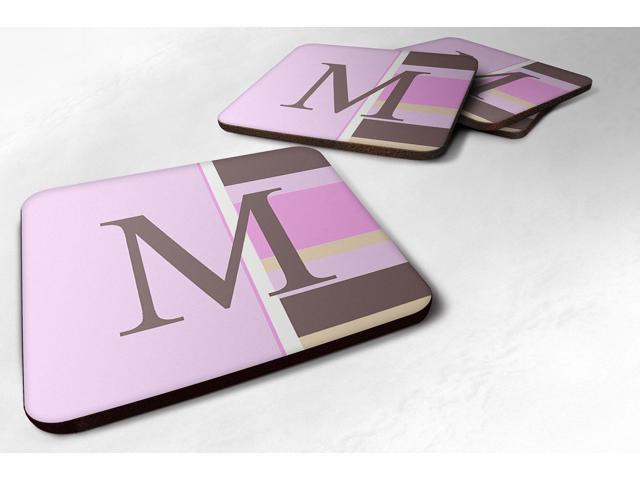 Carolines Treasures CJ1005-MFC Monogram - Pink Stripes Foam Coasters Initial Letter M, Set Of 4 photo