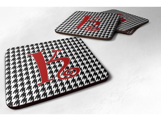 Set of 4 Monogram - Houndstooth Black Foam Coasters Initial Letter K photo