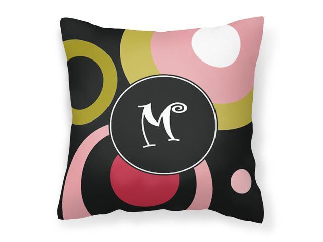 Monogram - Retro in Black Decorative Canvas Fabric Pillow AM1001 photo
