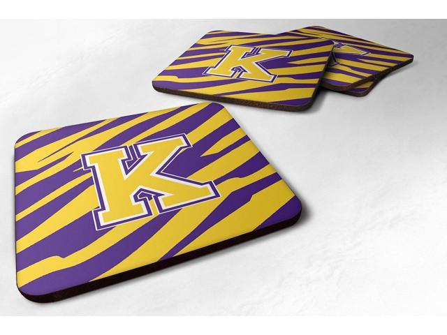 Set of 4 Monogram - Initial K Tiger Stripe - Purple Gold Foam Coasters photo