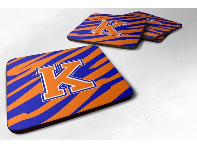 Set of 4 Monogram - Tiger Stripe - Blue Orange Foam Coasters Initial Letter K photo