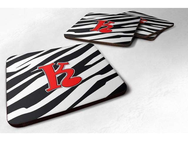 Set of 4 Monogram - Zebra Red Foam Coasters Initial Letter K photo