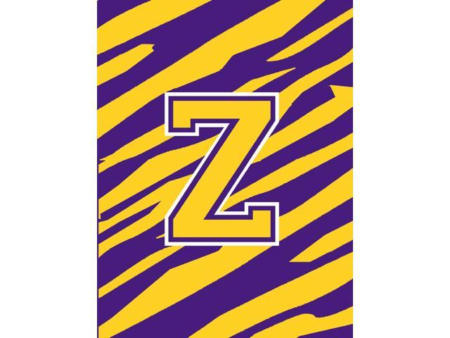 Monogram - Tiger Stripe - Purple Gold Initial Z Monogram Initial Flag Garden photo