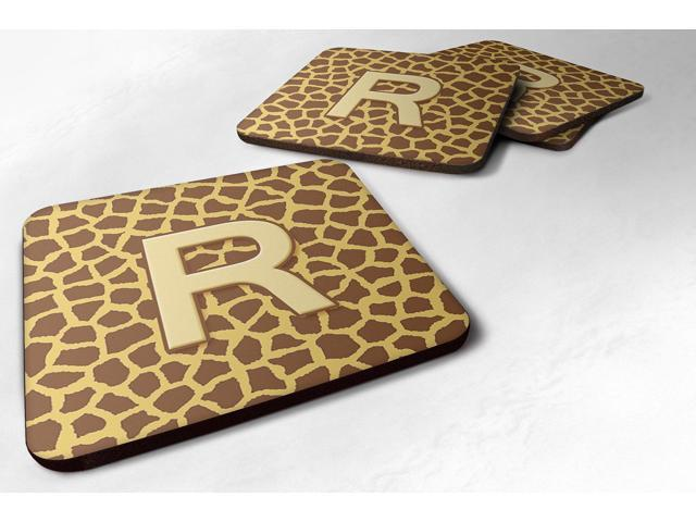 Carolines Treasures CJ1025-RFC Monogram - Giraffe Foam Coasters, Initial Letter R - Set 4, 3.5 x 3.5 In. photo