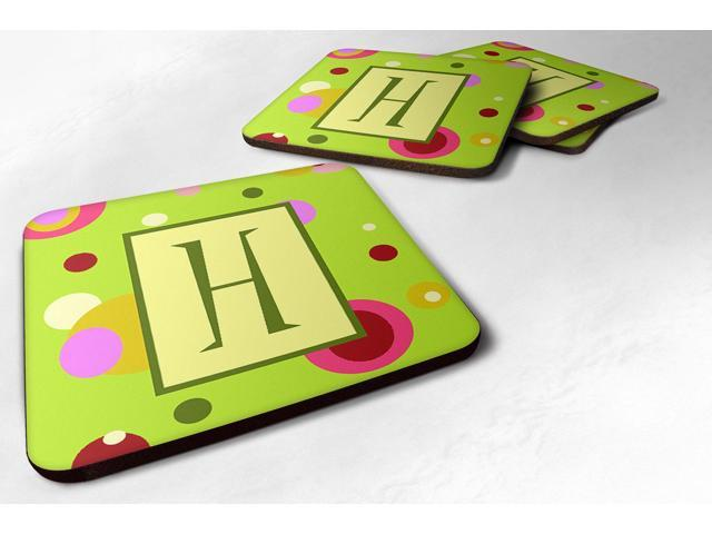 Carolines Treasures CJ1010-HFC Monogram - Green Foam Coasters Initial Letter H, Set Of 4 photo