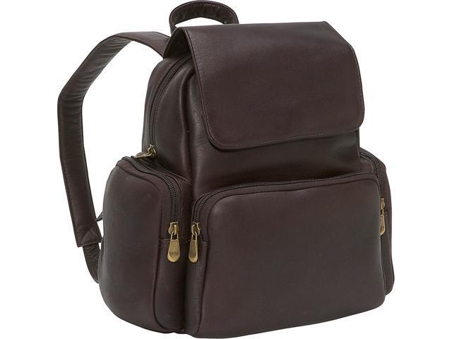 Le Donne Leather Women's Multi Pocket Back Pack Purse, Café, Medium (699884001946 Luggage & Bags) photo