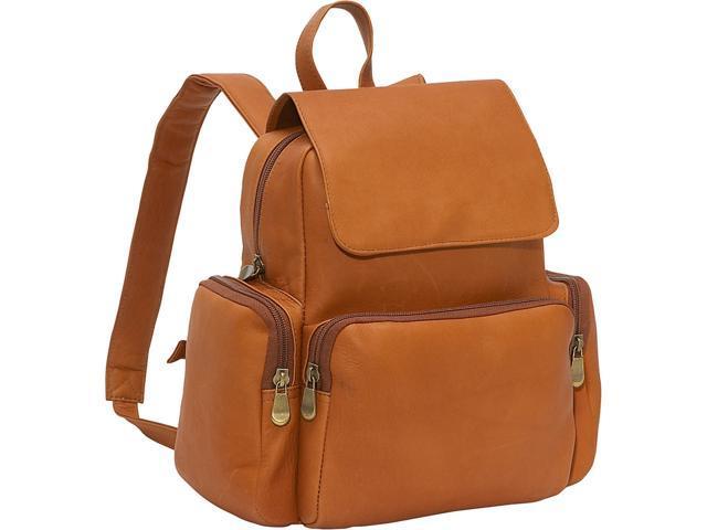 Le Donne Leather Women's Multi Pocket Back Pack Purse, Tan, Medium (699884001939 Luggage & Bags) photo