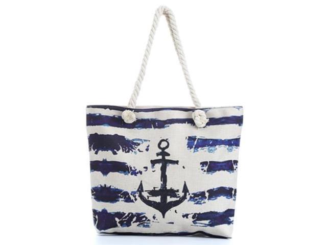Blue Ocean Anchor Nautical Canvas Shoulder Tote Beach Summer Bag Women Girls Purse With Interior Pocket, Zipper Closure Animal Print(HG146) (895610754333 Home & Garden Decor) photo