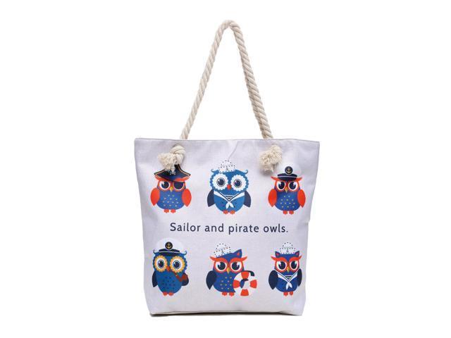 Pirate Sailor Nautical Owls Canvas Shoulder Tote Beach Summer Bag Women Girls Purse with Interior Pocket, Zipper Closure Animal Print(HG096) (Home & Garden Decor) photo