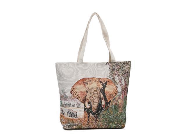 Elephant Canvas Shoulder Tote Beach Summer Bag Women Girls Purse with Interior Pocket, Zipper Closure Animal Print(HG116) (Home & Garden Decor) photo