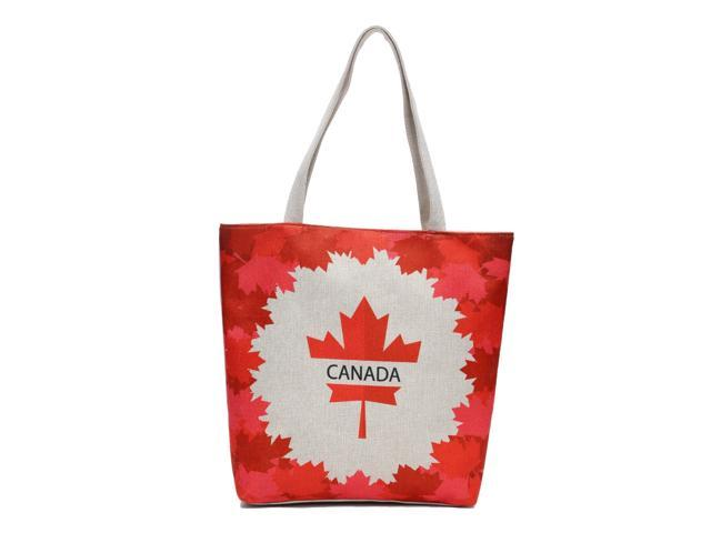 Canadian Canada Flag Maple Leaf Canvas Shoulder Tote Beach Summer Bag Women Girls Purse with Interior Pocket, Zipper Closure(HG095) (Home & Garden Decor) photo