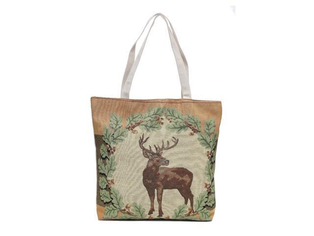 Deer Moose Canvas Shoulder Tote Beach Summer Bag Women Girls Purse with Interior Pocket, Zipper Closure Animal Print(HG111) (895610754388 Home & Garden Decor) photo