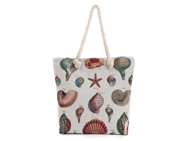 Sea Shells Star Fish Ocean Nautical Canvas Shoulder Tote Beach Summer Bag Women Girls Purse With Interior Pocket, Zipper Closure Animal Print(HG114) (Home & Garden Decor) photo