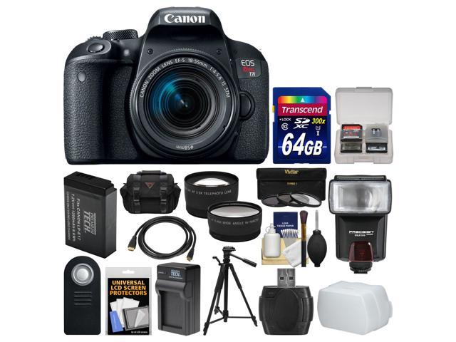 Canon eos rebel t7i digital slr camera & ef-s 18-55mm is stm lens with 64gb card + case + flash + battery & charger + tripod + tele/wide lens kit