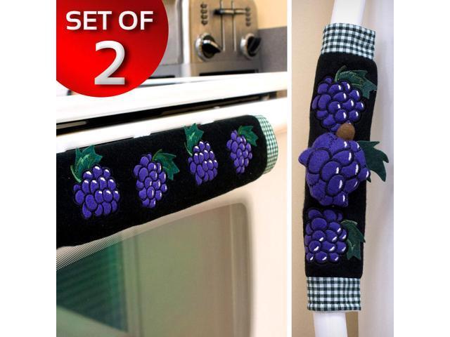 Kitchen Appliance Oven Refridgerator Handle Door Covers - Set of 2 - Grape photo