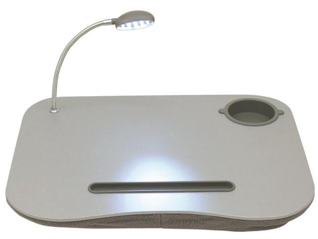 QVS Laptop Desk with Built-In Cushion LED Light and Cup Holder LD-LED