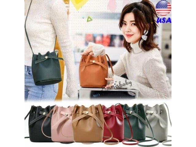 Women Bow Drawstring Bags Holder Pouch Ladies Leather Chain Shoulder Bag Tote Purse Handbag Bucket Crossbody Satchel Backpack (Electronics Computer Components Laptop Parts) photo