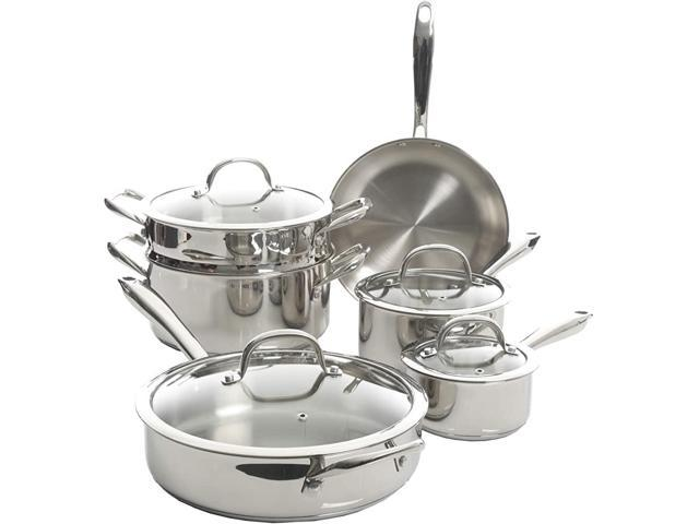 Gibson 126379.10 Kenmore Devon 10 Piece Cookware Set, Stainless Steel photo